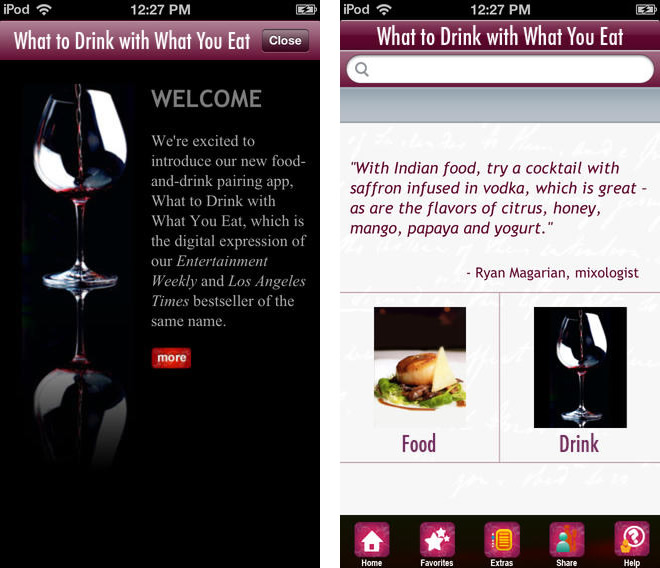 What to Drink with What You Eat App - Screenshots
