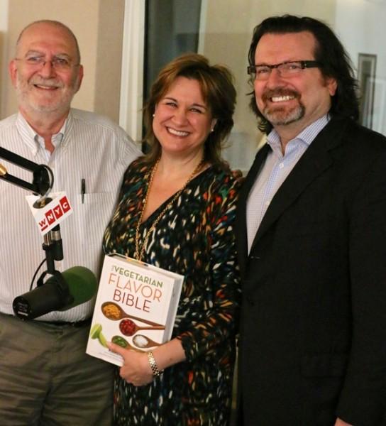 L to R:  WNYC radio host Leonard Lopate, Karen Page, Picholine chef-owner Terrance Brennan